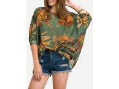 Шифоновая блуза с принтом Leaves