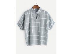 Зеленая сетка печати Dip Hem V Шея блузка
