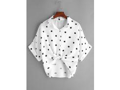 Белая полька точка узел передней манжетой блузка