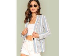 Полосатый блейзер с двойными карманами