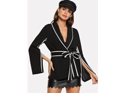 Slit Sleeve Belted Notched Coat