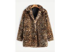 Модная искусственная меховая шуба с леопардовым принтом