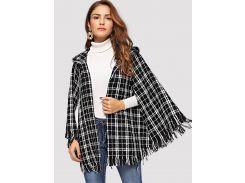 Пальто-пончо с капюшоном и рваной отделкой