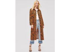 Пальто с принтом животных с пуговицами