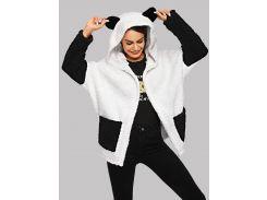 Двухцветное пушистое пальто панды