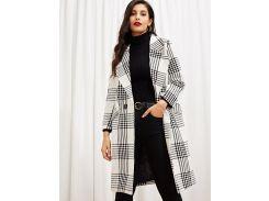 Пальто в клетку с поясом и карманами