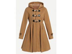 Асимметричное пальто сукна с капюшом