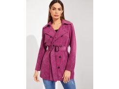 Двубортное вельветовое длинное пальто с поясом