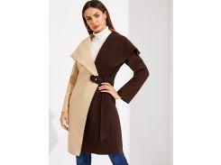 Многоцветный Контрастный цвет Повседневный стиль Пальто