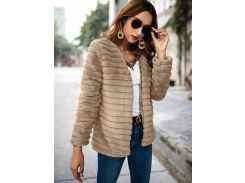 Однотонное плюшевое пальто с искусственным шерстью