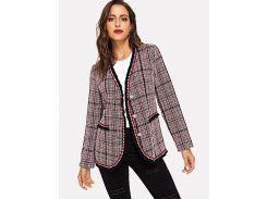 Одноьонное твидовое пальто с бахромой
