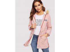 Пальто с принтом букв с искусственным мехом