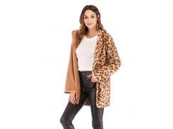 Леопардовое пальто тедди с капюшоном