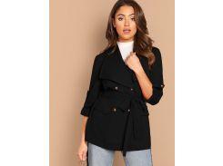 Двухбортное пальто с поясом и оригинальным рукавом