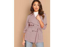 Пальто с оригинальным рукавом и поясом и пуговицами