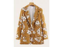 Однобортный пиджак с цветочным принтом