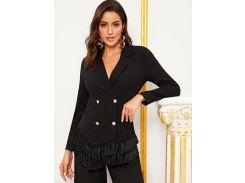 Пиджак с пуговицами, бахромой и разрезом на воротнике