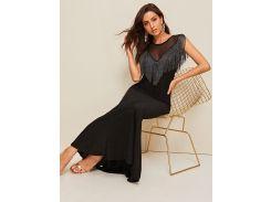 Длинное платье-русалка с сетчатыми вставками и бахромой