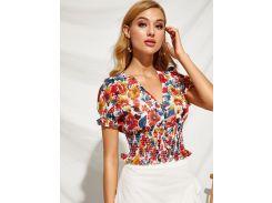 Цветочная блуза с пуговицами и оборками