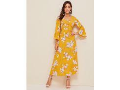 Длинное платье с цветочным принтом и узлом сзади