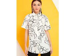 Рубашка с коротким рукавом и цветочным принтом