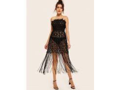 Кружевное прозрачное платье с открытыми плечами и бахромой