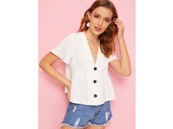 Однотонная блуза с v-образным вырезом и пуговицами
