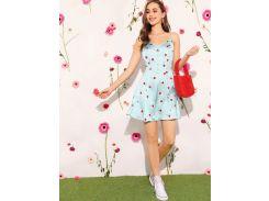 Атласное платье-комбинация с вишневым принтом