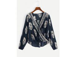 Асимметричная блуза с графическим принтом и бахромой