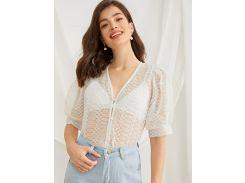 Прозрачная сетчатая блуза с v-образным вырезом