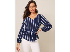 Блуза в полоску с v-образным вырезом и поясом