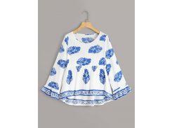Асимметричная блуза с племенным принтом