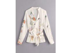 Блуза с графическим принтом и поясом