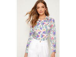 Разноцветная блуза с цветочным принтом