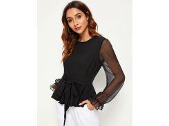 Блуза с сетчатым рукавом и узлом
