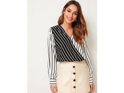 Двухцветная полосатая блуза с глубоким V-образным вырезом