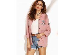 Розовая куртка с текстовым принтом