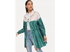Контрастная куртка на молнии с кулиской