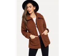 Однотонная плюшевая куртка с карманом