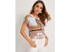 Блуза с воротником-бантом и графическим принтом