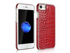 XOOMZ Crocodile Texture Натуральная Кожа Кожа Покрытие ПК Задняя Крышка Для Iphone 8 / 7 - Красный
