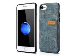 XOOMZ for iPhone 8 / 7 Jeans Cloth Leather Coated PC Silicone Hybrid Case - Light Blue