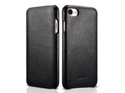 XOOMZ Изогнутый Край Личи Натуральной Кожи Флип Чехол Для Iphone 7 4.7 Дюйма - Черный