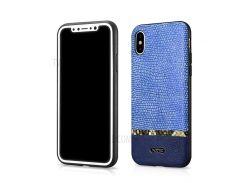 XOOMZ Змея текстура блеск PU кожаный мобильного телефона чехол для iPhone х - синий