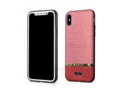 XOOMZ змея текстуры блеск PU кожаный чехол для iPhone х - красный