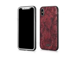 XOOMZ змея текстуры искусственная кожа с покрытием ТПУ задняя крышка для iPhone х (десять) 5,8 дюйма - красный