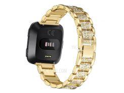Rhinestone Декор Металлический Ремешок Для Ремня Для Fitbit Versa - Золото