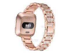 Металлический Браслет Для Украшения Rhinestone Для Fitbit Versa - Розовое Золото