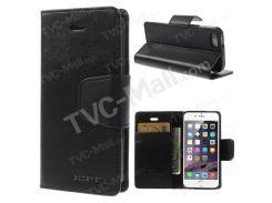 Меркурий Goospery Соната Дневник Кожаный Магнитный Чехол Ж / Стенд Для IPhone SE 5s 5 - черный