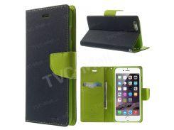 Ртути GOOSPERY Причудливый Кожаный Чехол Для Кошелька Для Iphone 6 Plus / 6 С Плюс Стенд - Темно-синий